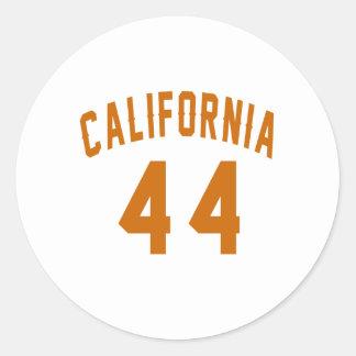 California 44 Birthday Designs Round Sticker