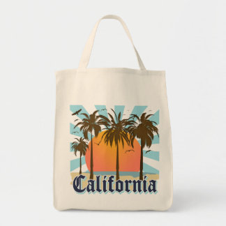 California Beaches Sunset Vacation Grocery Tote Bag