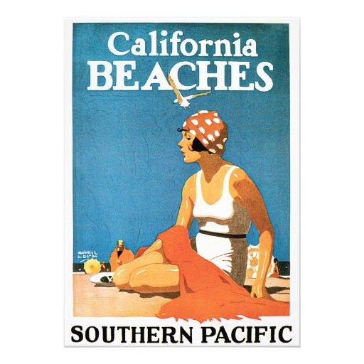 California Beaches Vintage Travel Poster Personalized Invite