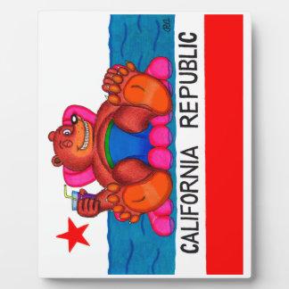 California Bear Feet Flag Plaque