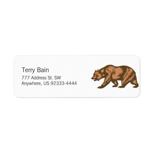 California Bear Return Address Label