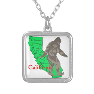 California bigfoot silver plated necklace
