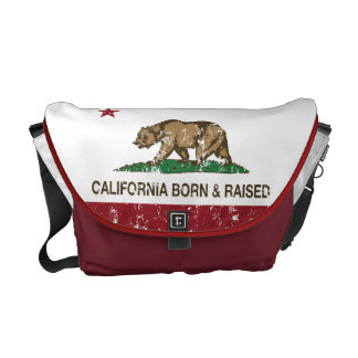 California Born and Raised Distressed Messenger Bags