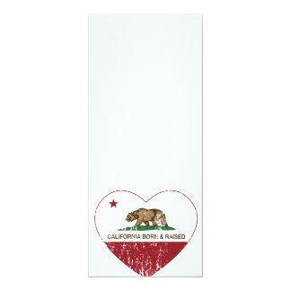 California Born and Raised Heart Distressed Custom Announcement