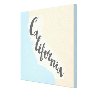 California Brush Lettering With Silhouette Map Canvas Print