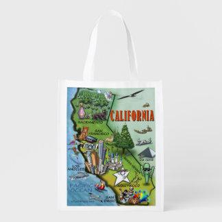 California Cartoon Map Reusable Grocery Bag
