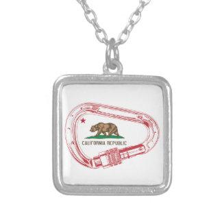 California Climbing Carabiner Silver Plated Necklace