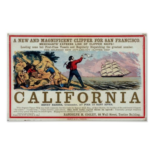 California Clipper Ship Historical Repro Poster