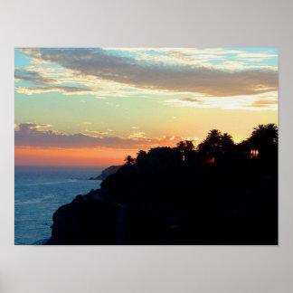 California Coast at Sunset San Pedro Royal Palms Poster