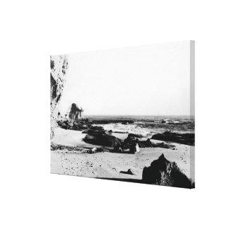 California Coast Line Black and White Vintage Gallery Wrap Canvas
