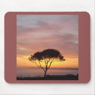 California Coast Winter Sunset with Tree Mouse Pad