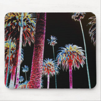 California Dreaming Neon Palm Tree Mouse Pad Art