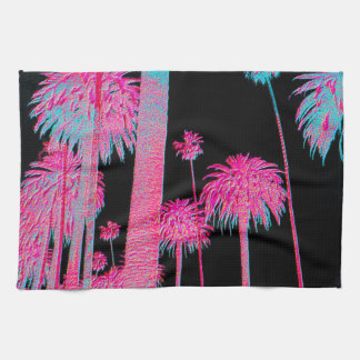 California Dreaming Neon Palm Trees Kitchen Towel