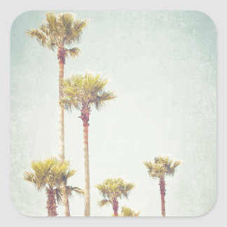California Dreaming Retro Palm Tree Photography Square Sticker