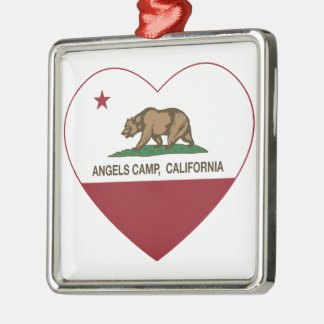 california flag angels camp heart metal ornament