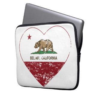 california flag bel air heart distressed laptop sleeve