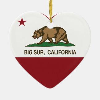 california flag big sur heart ceramic ornament