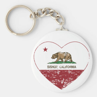 california flag bishop heart distressed key ring