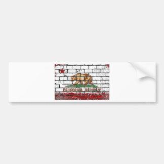 California Flag Brick Wall Grunge Bumper Sticker