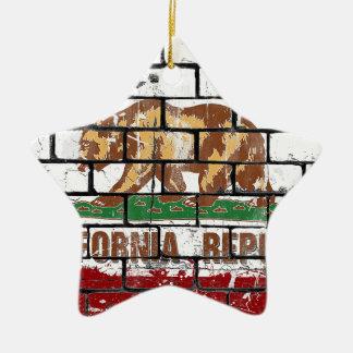 California Flag Brick Wall Grunge Ceramic Ornament