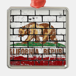 California Flag Brick Wall Grunge Metal Ornament
