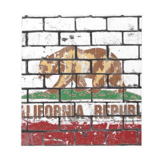 California Flag Brick Wall Grunge Notepad