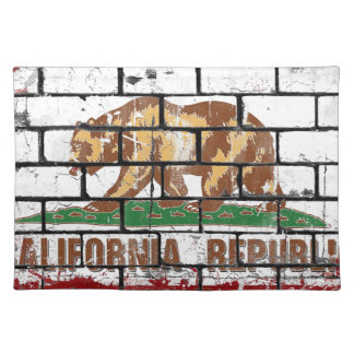 California Flag Brick Wall Grunge Placemat
