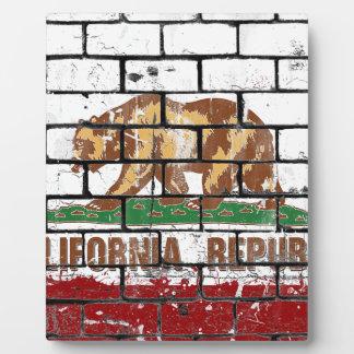 California Flag Brick Wall Grunge Plaque