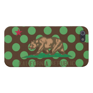 California Flag Brown and Green Polka Dots iPhone 5/5S Cases