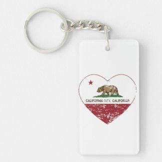 california flag california city heart distressed Double-Sided rectangular acrylic key ring