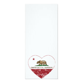 """california flag canyon country heart distressed 4"""" x 9.25"""" invitation card"""