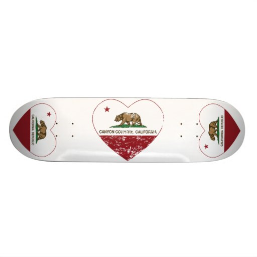 california flag canyon country heart distressed skate board deck