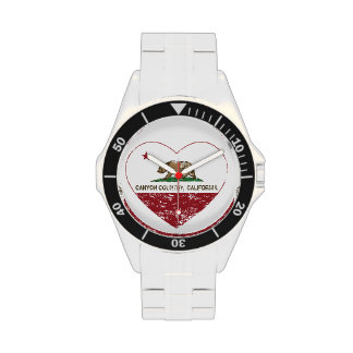 california flag canyon country heart distressed wrist watches