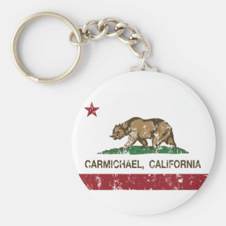 california flag carmichael distressed basic round button key ring