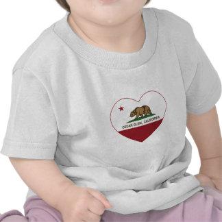 california flag cedar glen heart t-shirts