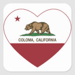 california flag coloma heart square sticker