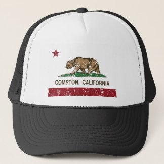 california flag compton distressed trucker hat