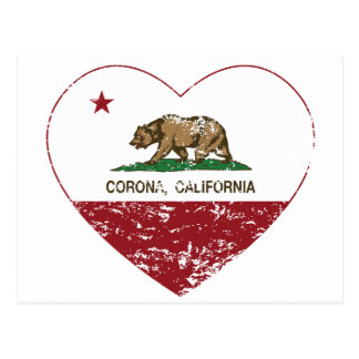 california flag corona heart distressed postcard
