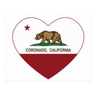 california flag coronado heart postcard