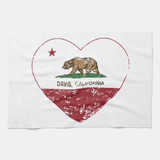 california flag davis heart distressed kitchen towel