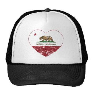 california flag dublin heart distressed cap