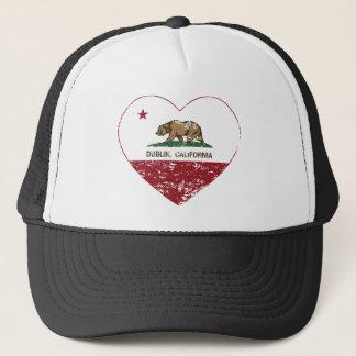 california flag dublin heart distressed trucker hat