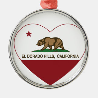 california flag el dorado hills heart metal ornament