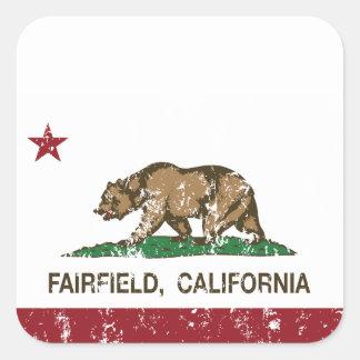 california flag fairfield distressed square sticker