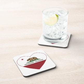 california flag fieldbrook heart beverage coaster