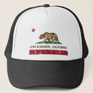california flag lake almanor distressed trucker hat