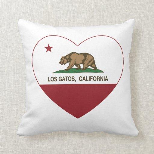 california flag los gatos heart throw pillow