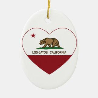 california flag los gatos heart ornament