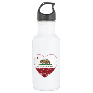 california flag los gatos heart distressed 532 ml water bottle