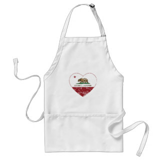 california flag los gatos heart distressed adult apron
